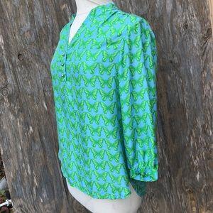 Elizabeth McKay butterfly shirt